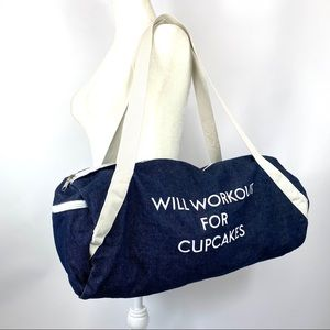 Will Workout For Cupcakes gym bag duffel - NWOT